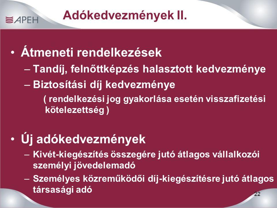22 Adókedvezmények II.