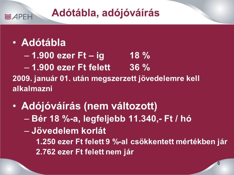 6 Adótábla, adójóváírás Adótábla –1.900 ezer Ft – ig 18 % –1.900 ezer Ft felett 36 % 2009.