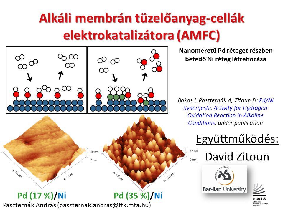 Alkáli membrán tüzelőanyag-cellák elektrokatalizátora (AMFC) Pd (17 %)/Ni Nanoméretű Pd réteget részben befedő Ni réteg létrehozása Pd (35 %)/Ni Együttműködés: David Zitoun Paszternák András (paszternak.andras@ttk.mta.hu) Bakos I, Paszternák A, Zitoun D: Pd/Ni Synergestic Activity for Hydrogen Oxidation Reaction in Alkaline Conditions, under publication