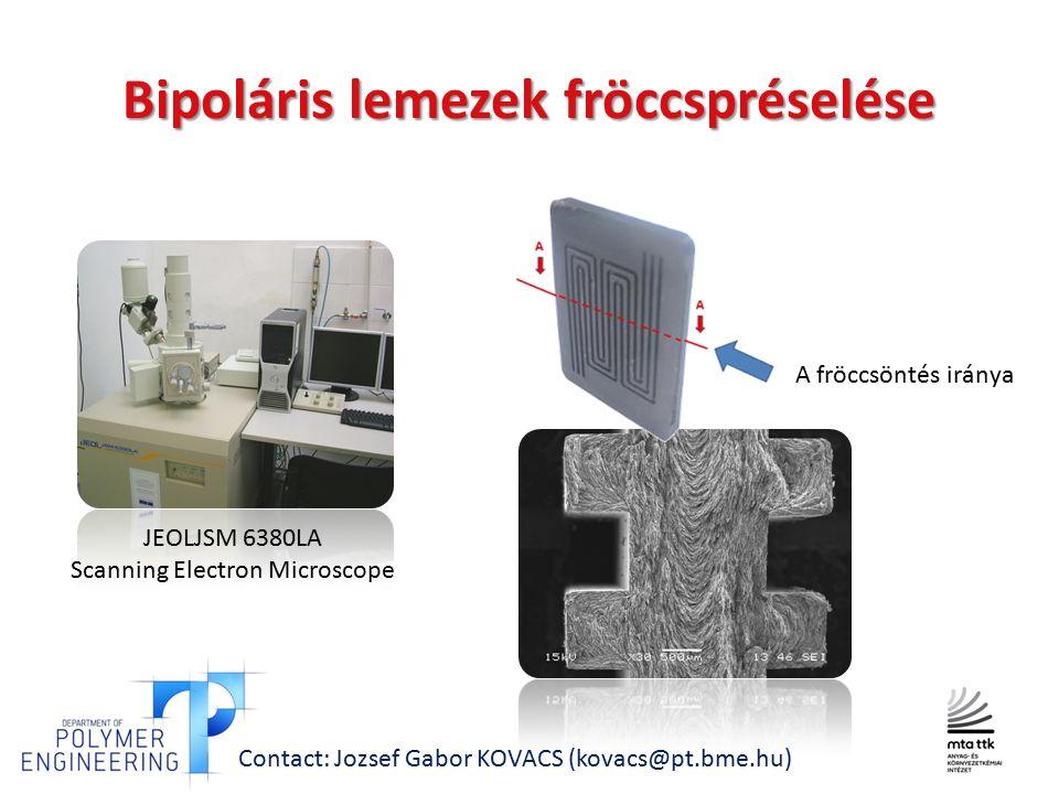 JEOLJSM 6380LA Scanning Electron Microscope A fröccsöntés iránya Contact: Jozsef Gabor KOVACS (kovacs@pt.bme.hu) Bipoláris lemezek fröccspréselése
