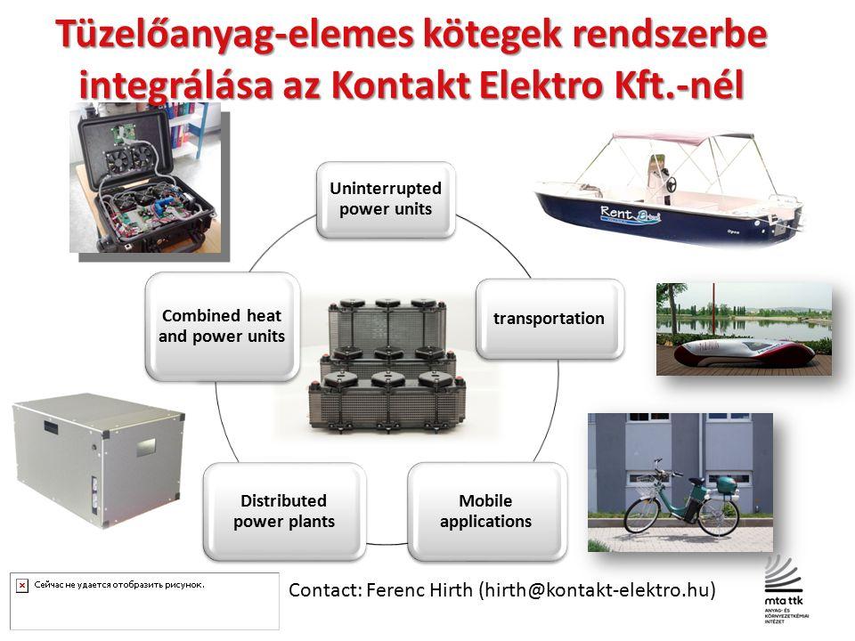 Contact: Ferenc Hirth (hirth@kontakt-elektro.hu) Uninterrupted power units transportation Mobile applications Distributed power plants Combined heat and power units Tüzelőanyag-elemes kötegek rendszerbe integrálása az Kontakt Elektro Kft.-nél