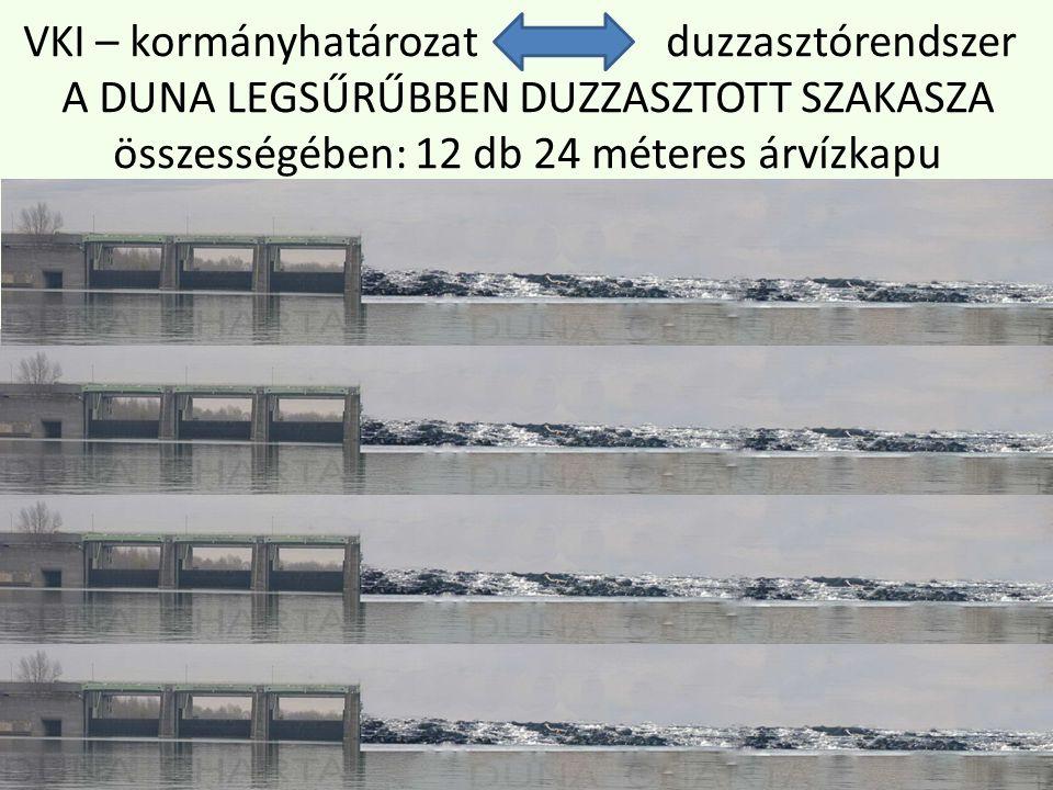 VKI – kormányhatározat duzzasztórendszer A DUNA LEGSŰRŰBBEN DUZZASZTOTT SZAKASZA összességében: 12 db 24 méteres árvízkapu