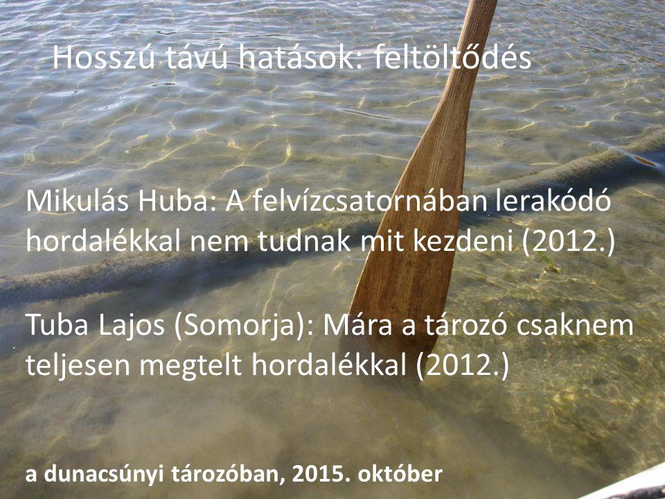 Hosszú távú hatások: feltöltődés Mikulás Huba: A felvízcsatornában lerakódó hordalékkal nem tudnak mit kezdeni (2012.) Tuba Lajos (Somorja): Mára a tározó csaknem teljesen megtelt hordalékkal (2012.) a dunacsúnyi tározóban, 2015.