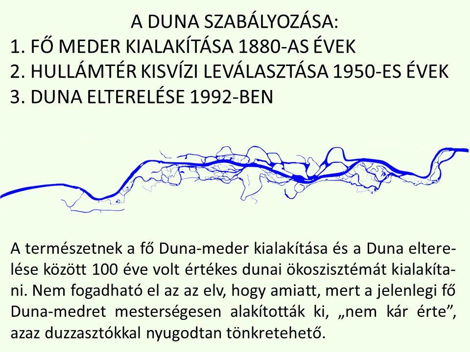 A DUNA SZABÁLYOZÁSA: 1. FŐ MEDER KIALAKÍTÁSA 1880-AS ÉVEK 2.