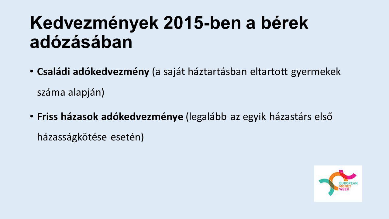 Kedvezmények 2015-ben a bérek adózásában Családi adókedvezmény (a saját háztartásban eltartott gyermekek száma alapján) Friss házasok adókedvezménye (