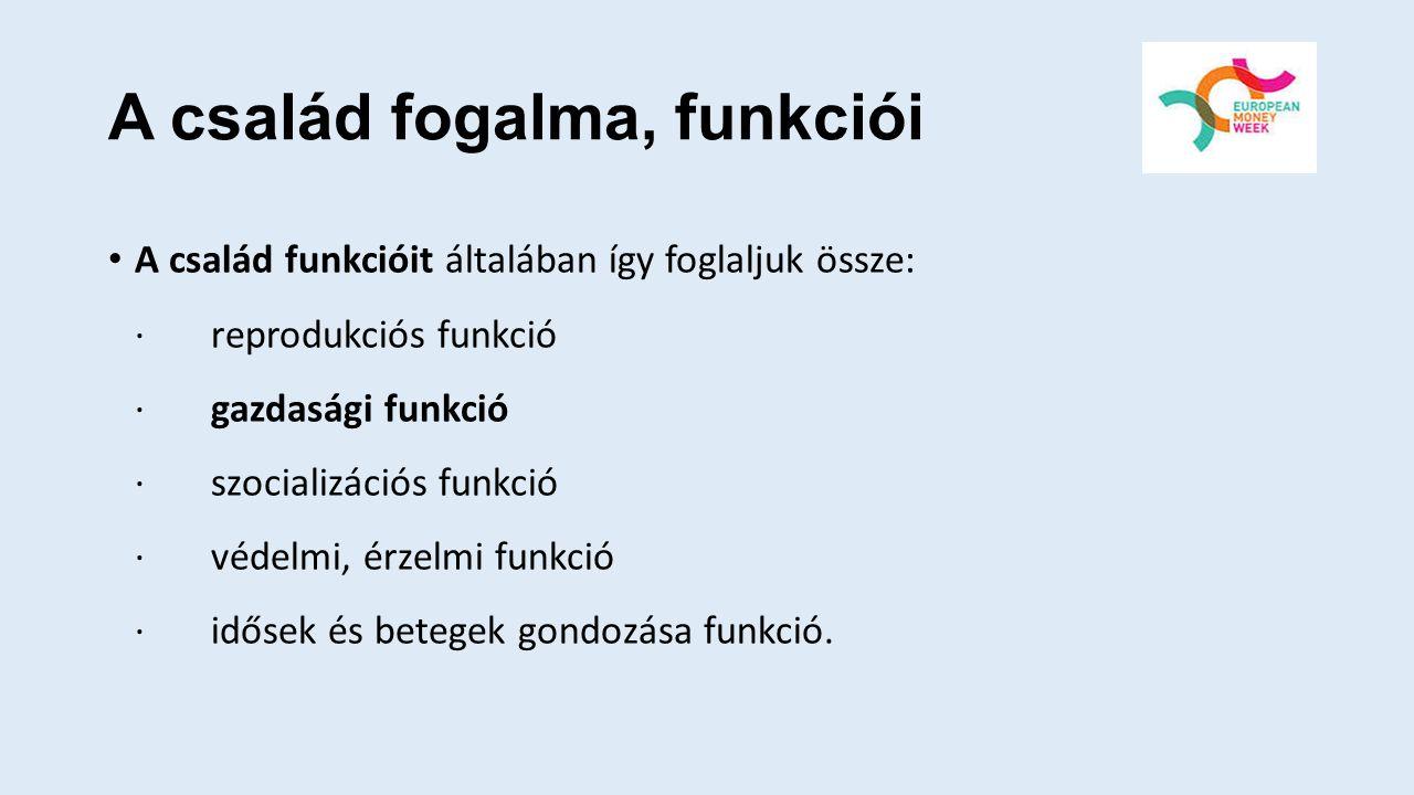 A család fogalma, funkciói A család funkcióit általában így foglaljuk össze: · reprodukciós funkció · gazdasági funkció · szocializációs funkció · véd
