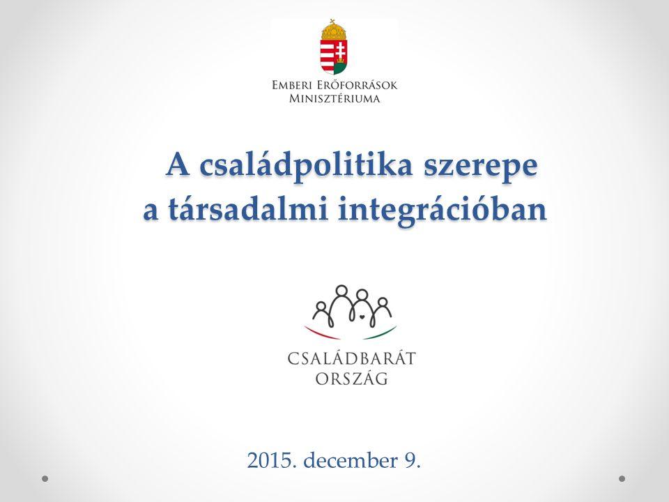 A családpolitika szerepe a társadalmi integrációban A családpolitika szerepe a társadalmi integrációban 2015. december 9.