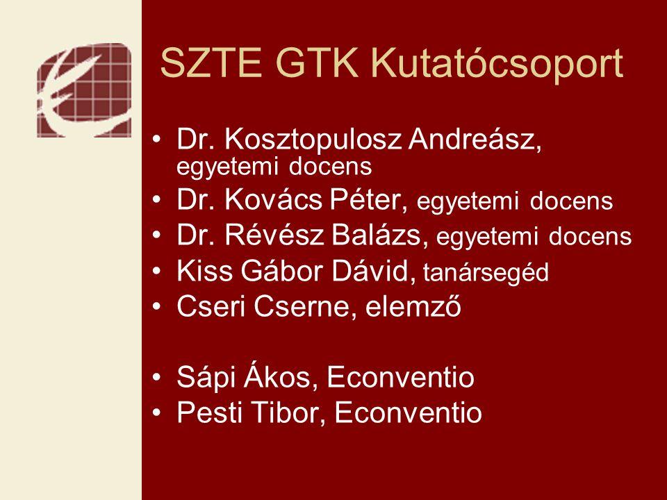 SZTE GTK Kutatócsoport Dr.Kosztopulosz Andreász, egyetemi docens Dr.