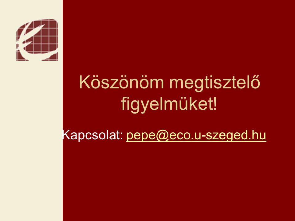 Köszönöm megtisztelő figyelmüket! Kapcsolat: pepe@eco.u-szeged.hupepe@eco.u-szeged.hu
