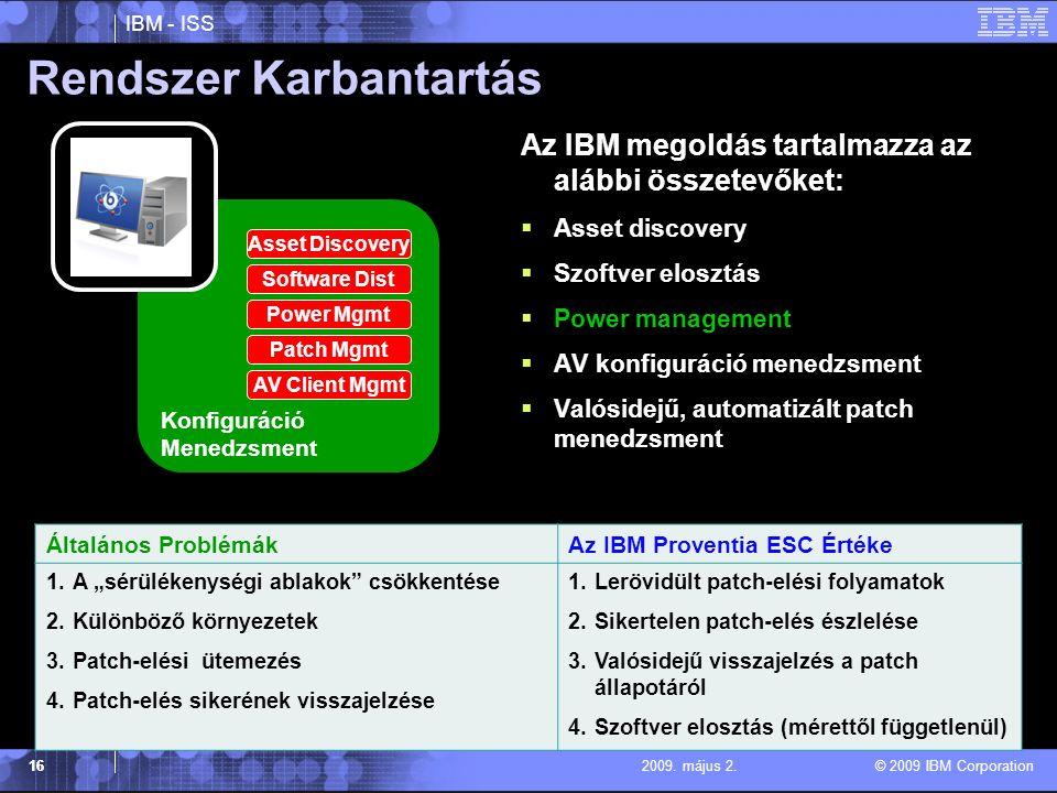 IBM - ISS © 2009 IBM Corporation 162009.