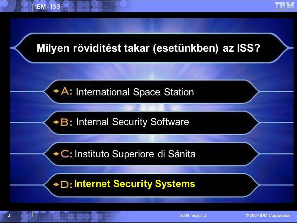 IBM - ISS © 2009 IBM Corporation 32009.május 2. Milyen rövidítést takar (esetünkben) az ISS.
