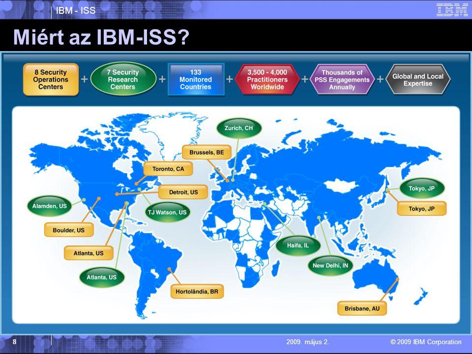 IBM - ISS © 2009 IBM Corporation 82009. május 2. Miért az IBM-ISS?
