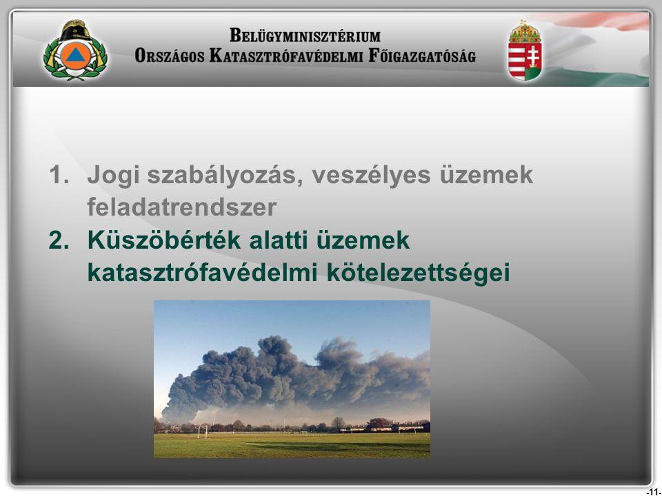 -11- 1.Jogi szabályozás, veszélyes üzemek feladatrendszer 2.Küszöbérték alatti üzemek katasztrófavédelmi kötelezettségei