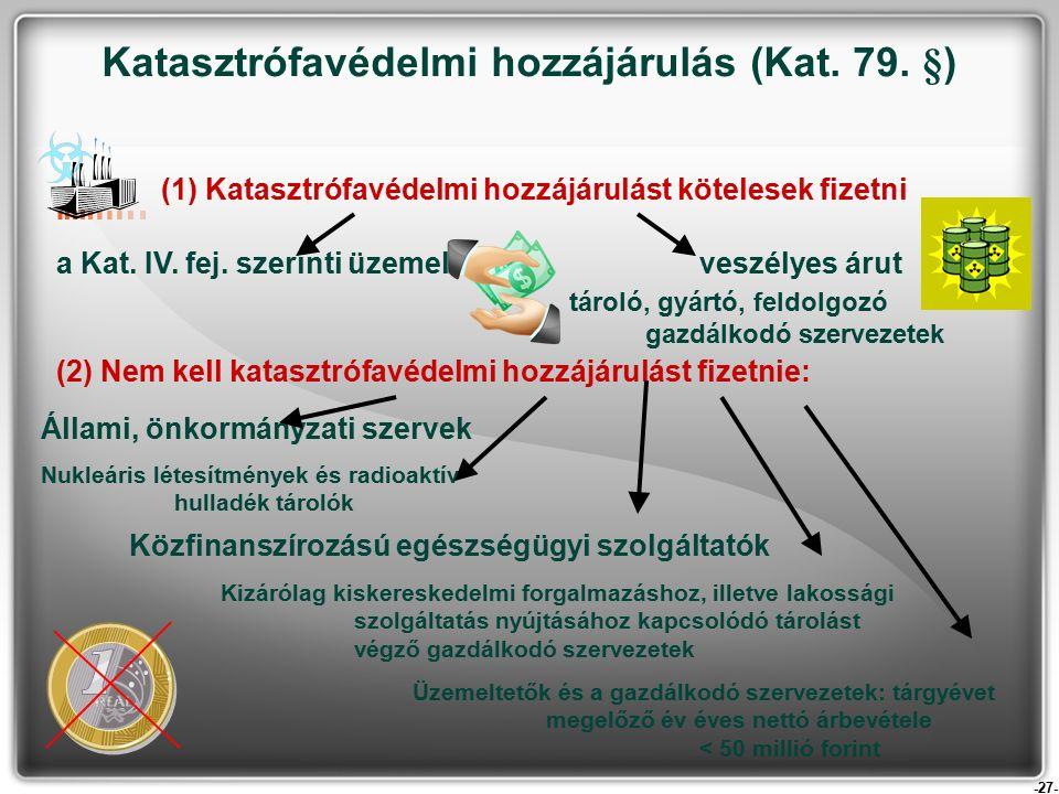 -27- (1) Katasztrófavédelmi hozzájárulást kötelesek fizetni a Kat.