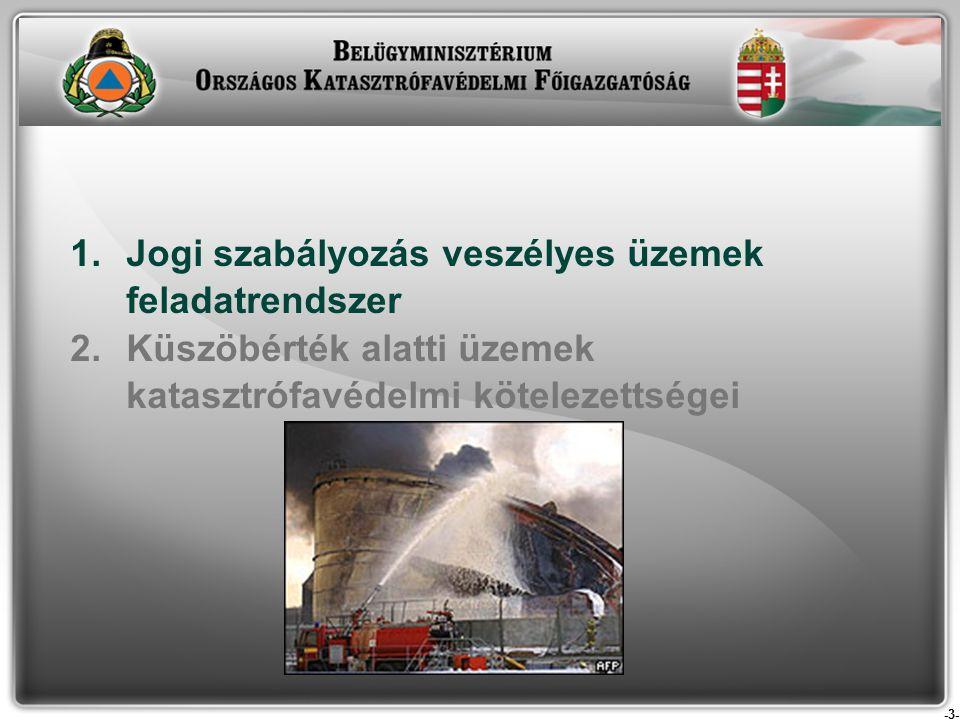 -3- 1.Jogi szabályozás veszélyes üzemek feladatrendszer 2.Küszöbérték alatti üzemek katasztrófavédelmi kötelezettségei