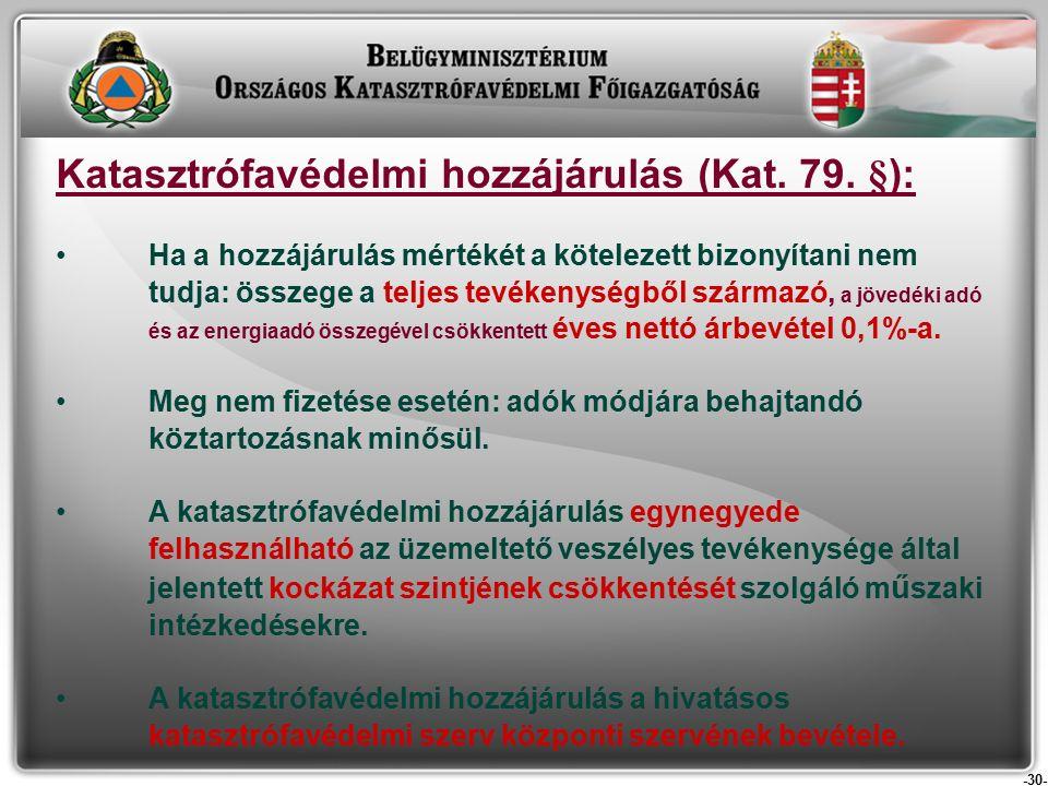 -30- Katasztrófavédelmi hozzájárulás (Kat. 79.
