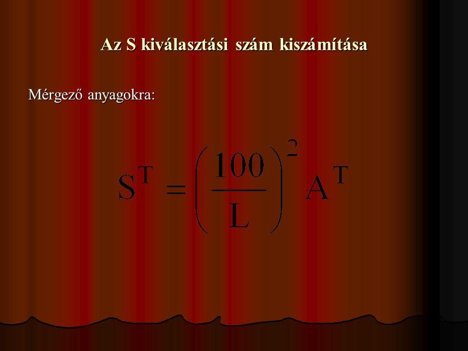 Az S kiválasztási szám kiszámítása Mérgező anyagokra:
