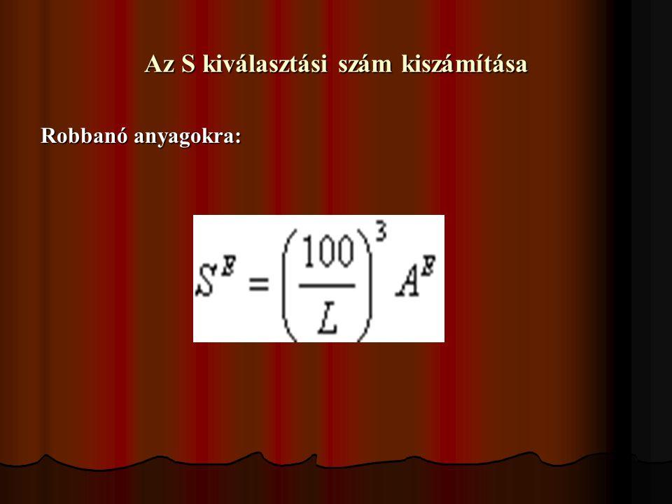 Az S kiválasztási szám kiszámítása Robbanó anyagokra: