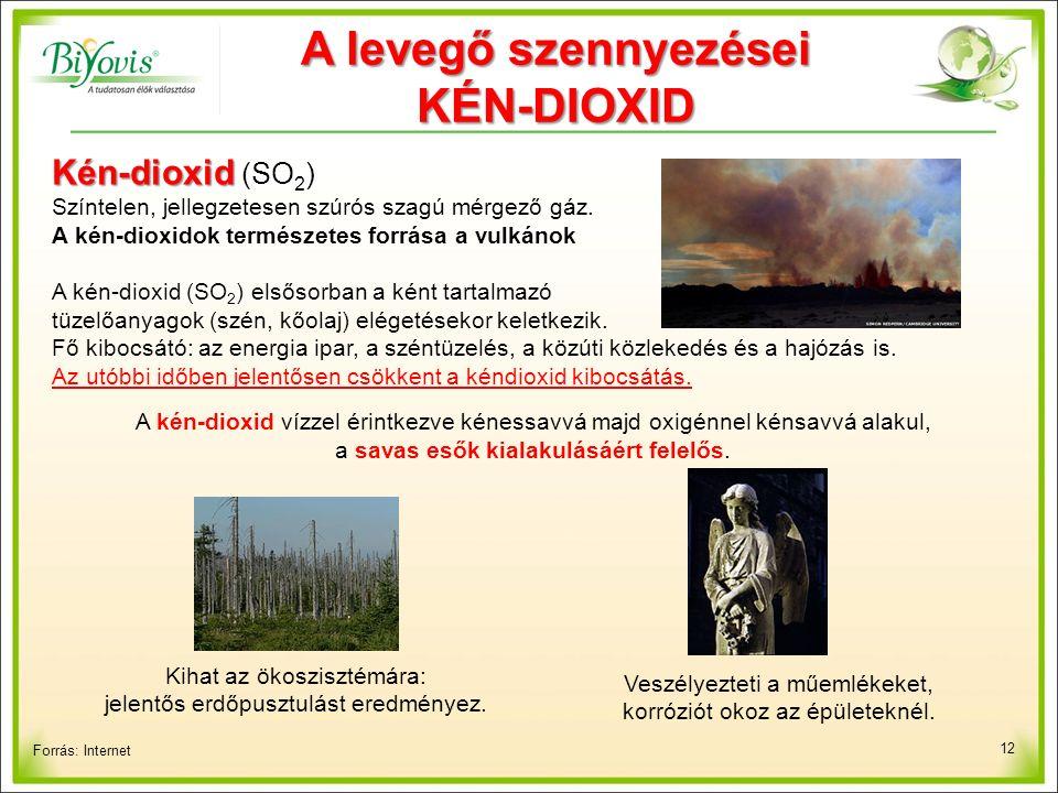 12 Forrás: Internet Kén-dioxid Kén-dioxid (SO 2 ) Színtelen, jellegzetesen szúrós szagú mérgező gáz.