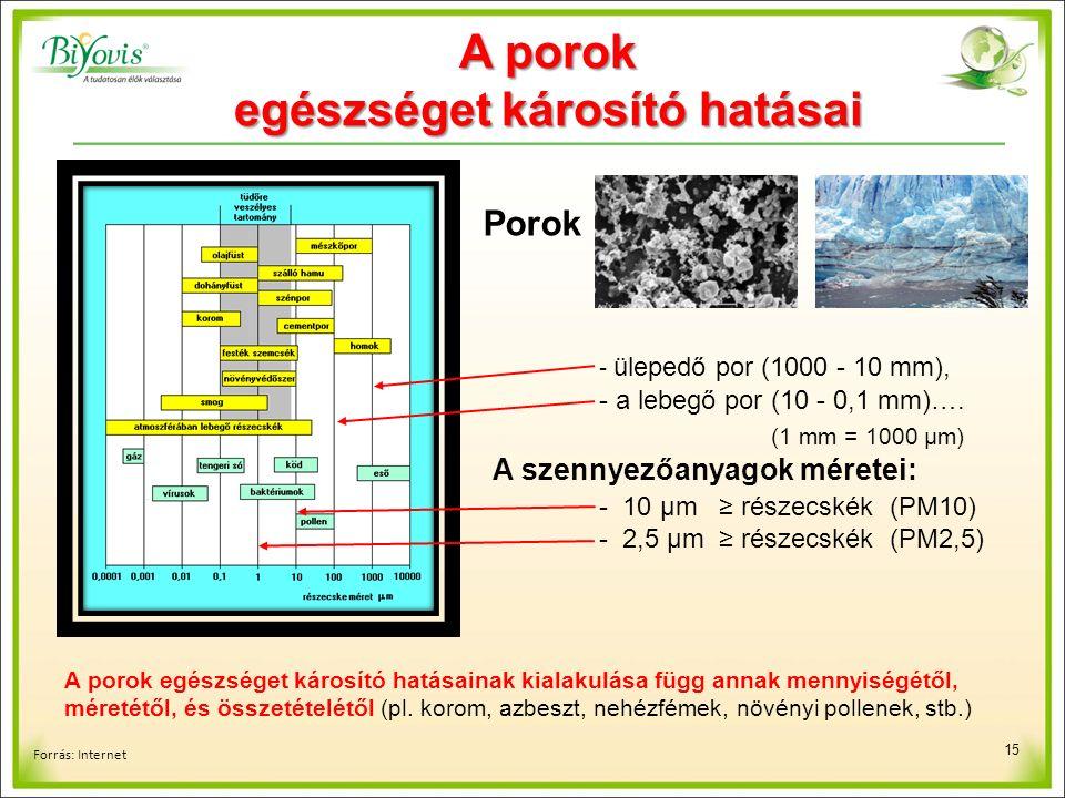 15 Forrás: Internet - ülepedő por (1000 - 10 mm), - a lebegő por (10 - 0,1 mm)….