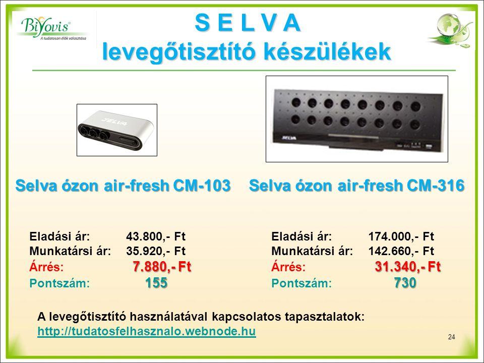 S E L V A levegőtisztító készülékek Selva ózon air-fresh CM-103 Selva ózon air-fresh CM-316 24 Eladási ár: 43.800,- FtEladási ár: 174.000,- Ft Munkatársi ár:35.920,- FtMunkatársi ár:142.660,- Ft 7.880,- Ft31.340,- Ft Árrés: 7.880,- Ft Árrés: 31.340,- Ft 155 730 Pontszám: 155 Pontszám: 730 A levegőtisztító használatával kapcsolatos tapasztalatok: http://tudatosfelhasznalo.webnode.hu