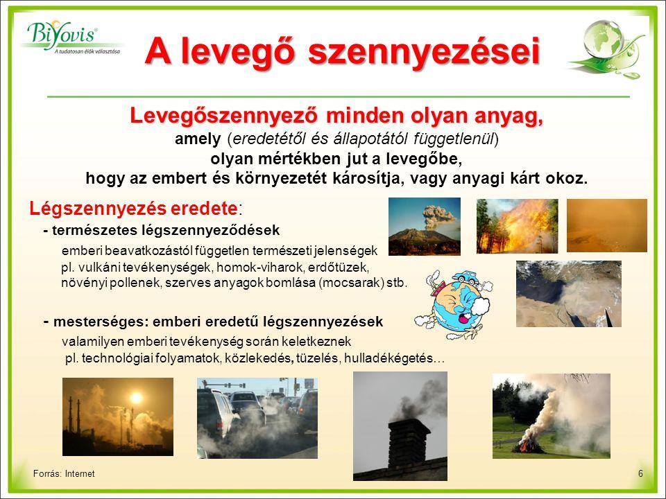 6 A levegő szennyezései Forrás: Internet Levegőszennyező minden olyan anyag, amely (eredetétől és állapotától függetlenül) olyan mértékben jut a levegőbe, hogy az embert és környezetét károsítja, vagy anyagi kárt okoz.