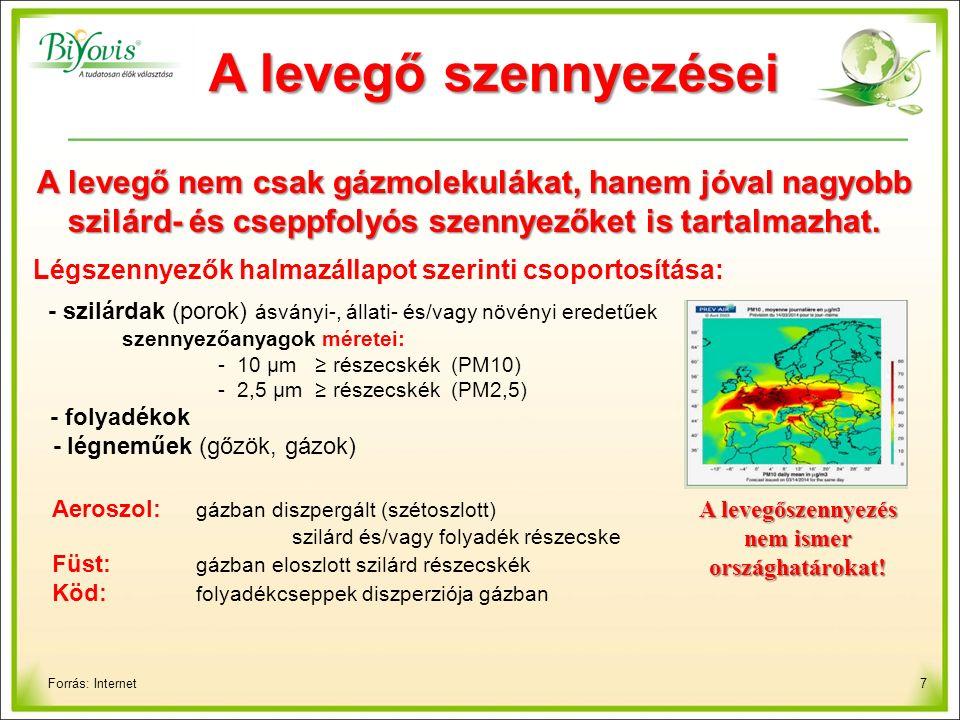 7 A levegő szennyezései Forrás: Internet A levegő nem csak gázmolekulákat, hanem jóval nagyobb szilárd- és cseppfolyós szennyezőket is tartalmazhat.
