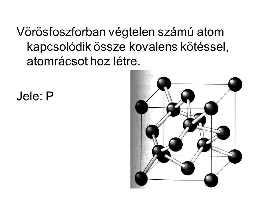 Vörösfoszforban végtelen számú atom kapcsolódik össze kovalens kötéssel, atomrácsot hoz létre.