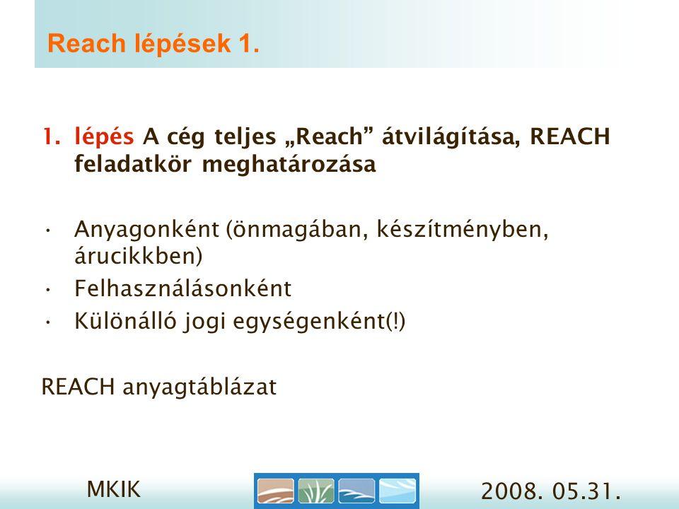 MKIK 2008. 05.31. Reach lépések 1.