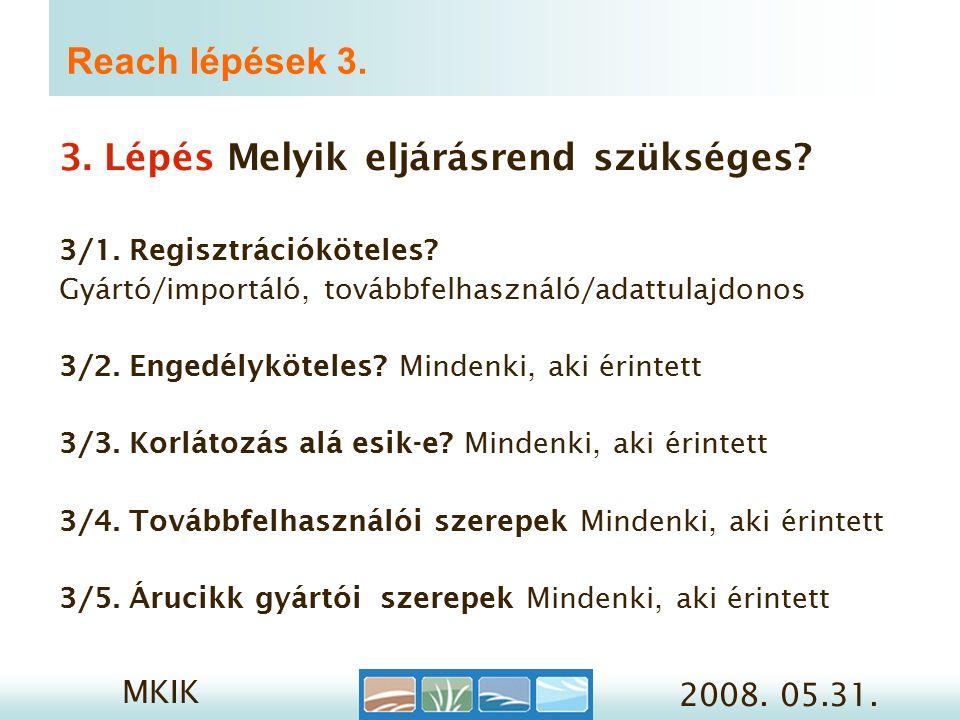 MKIK 2008. 05.31. Reach lépések 3. 3. Lépés Melyik eljárásrend szükséges.