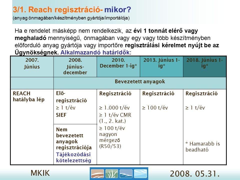 MKIK 2008. 05.31. 3/1. Reach regisztráció- mikor.