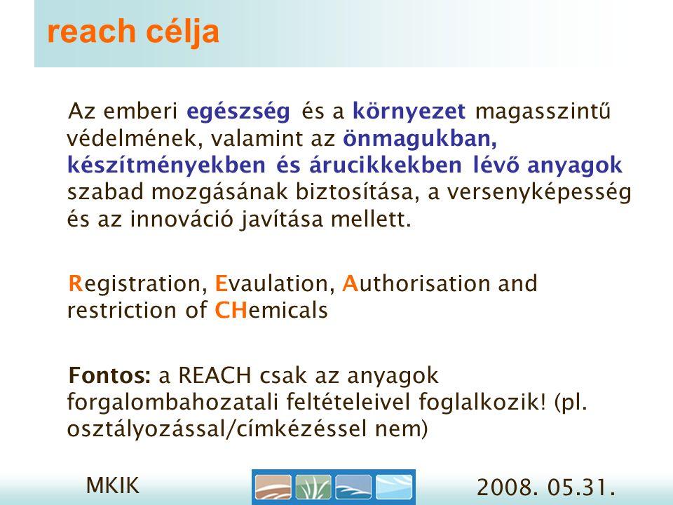 MKIK 2008.05.31. Reach lépések 2. 2.