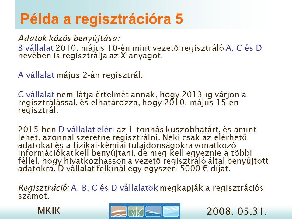 MKIK 2008. 05.31. Példa a regisztrációra 5 Adatok közös benyújtása: B vállalat 2010.