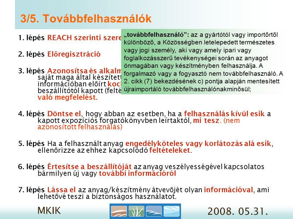 MKIK 2008. 05.31. 3/5. Továbbfelhasználók 1. lépés REACH szerinti szerep meghatározása 2.