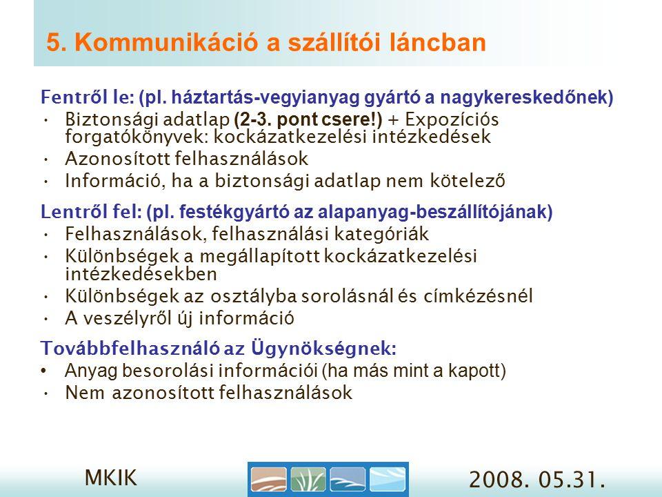 MKIK 2008. 05.31. 5. Kommunikáció a szállítói láncban Fentr ő l le: (pl.