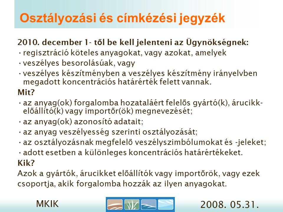 MKIK 2008. 05.31. Osztályozási és címkézési jegyzék 2010.