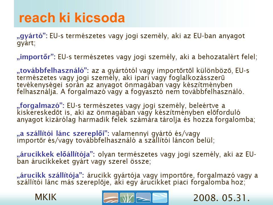 MKIK 2008.05.31. 3/1. Reach regisztráció- mit.