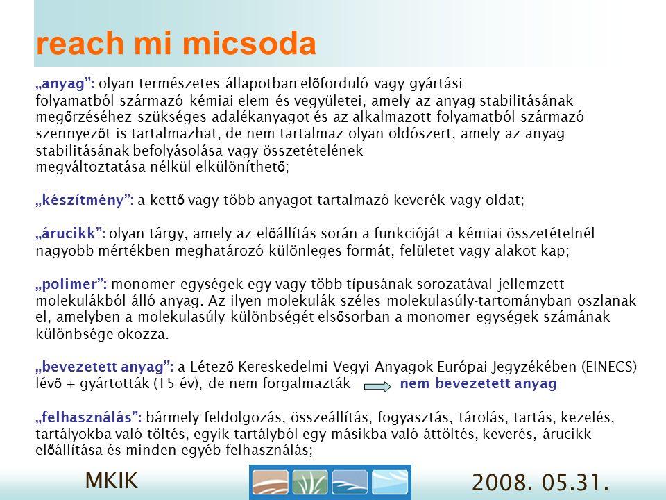 MKIK 2008.05.31. 3/5. Továbbfelhasználók 1. lépés REACH szerinti szerep meghatározása 2.