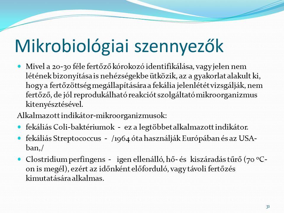 Mikrobiológiai szennyezők Mivel a 20-30 féle fertőző kórokozó identifikálása, vagy jelen nem létének bizonyítása is nehézségekbe ütközik, az a gyakorlat alakult ki, hogy a fertőzöttség megállapítására a fekália jelenlétét vizsgálják, nem fertőző, de jól reprodukálható reakciót szolgáltató mikroorganizmus kitenyésztésével.
