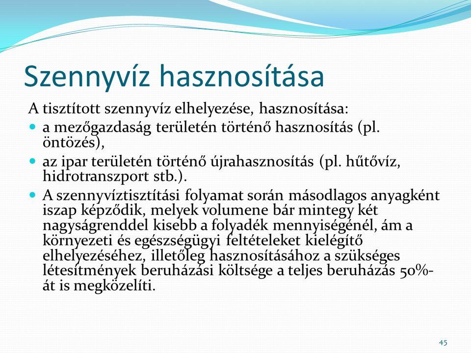 Szennyvíz hasznosítása A tisztított szennyvíz elhelyezése, hasznosítása: a mezőgazdaság területén történő hasznosítás (pl.