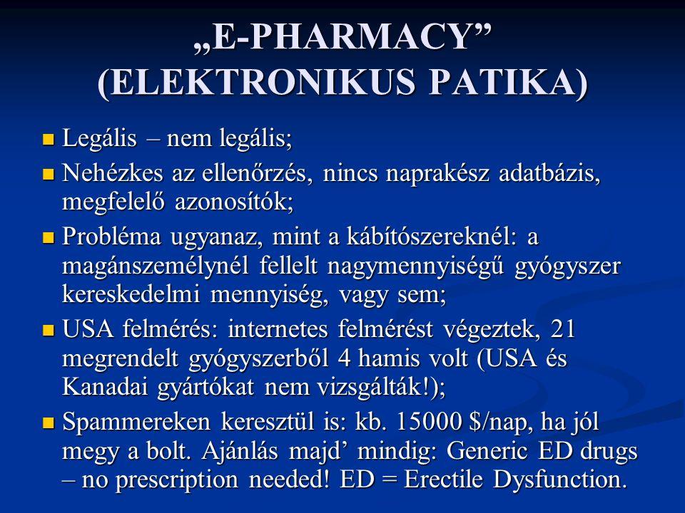 """""""E-PHARMACY (ELEKTRONIKUS PATIKA) Legális – nem legális; Legális – nem legális; Nehézkes az ellenőrzés, nincs naprakész adatbázis, megfelelő azonosítók; Nehézkes az ellenőrzés, nincs naprakész adatbázis, megfelelő azonosítók; Probléma ugyanaz, mint a kábítószereknél: a magánszemélynél fellelt nagymennyiségű gyógyszer kereskedelmi mennyiség, vagy sem; Probléma ugyanaz, mint a kábítószereknél: a magánszemélynél fellelt nagymennyiségű gyógyszer kereskedelmi mennyiség, vagy sem; USA felmérés: internetes felmérést végeztek, 21 megrendelt gyógyszerből 4 hamis volt (USA és Kanadai gyártókat nem vizsgálták!); USA felmérés: internetes felmérést végeztek, 21 megrendelt gyógyszerből 4 hamis volt (USA és Kanadai gyártókat nem vizsgálták!); Spammereken keresztül is: kb."""