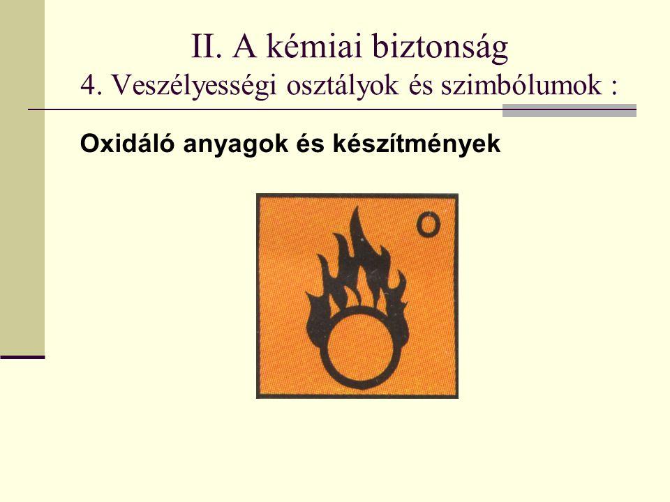 II. A kémiai biztonság 4. Veszélyességi osztályok és szimbólumok : Oxidáló anyagok és készítmények