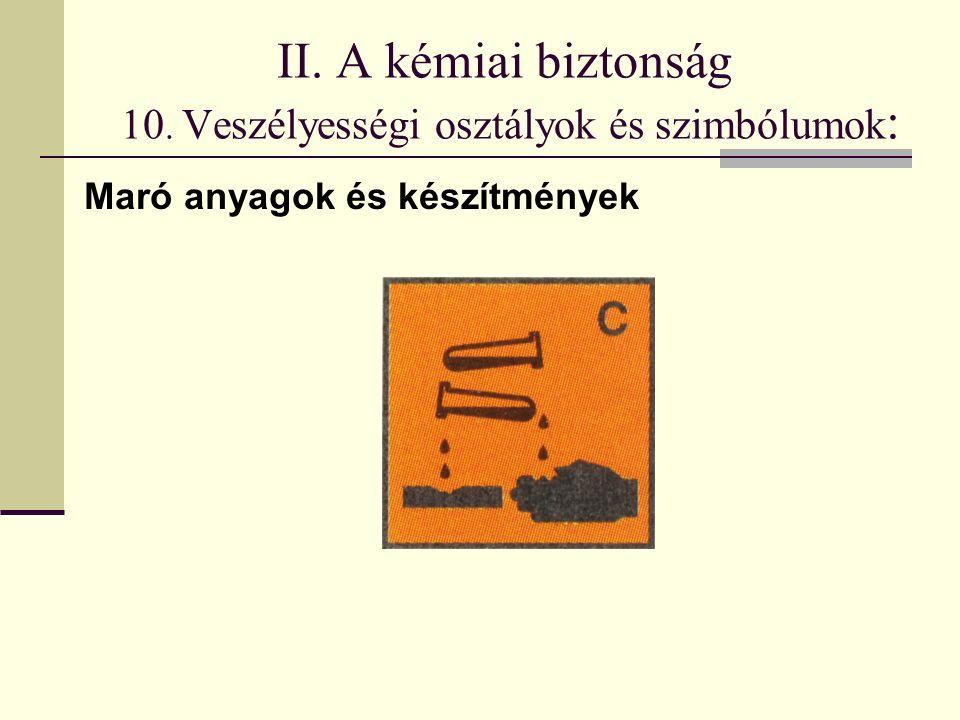 II. A kémiai biztonság 10. Veszélyességi osztályok és szimbólumok : Maró anyagok és készítmények