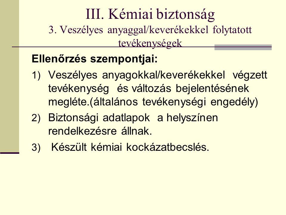 III. Kémiai biztonság 3.