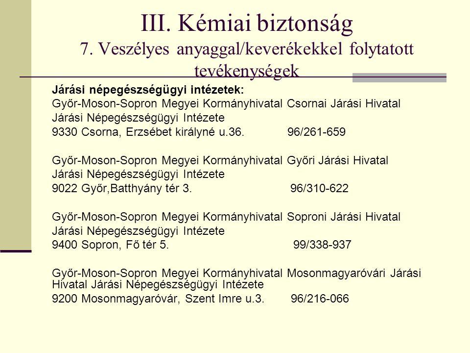 III. Kémiai biztonság 7. Veszélyes anyaggal/keverékekkel folytatott tevékenységek Járási népegészségügyi intézetek: Győr-Moson-Sopron Megyei Kormányhi