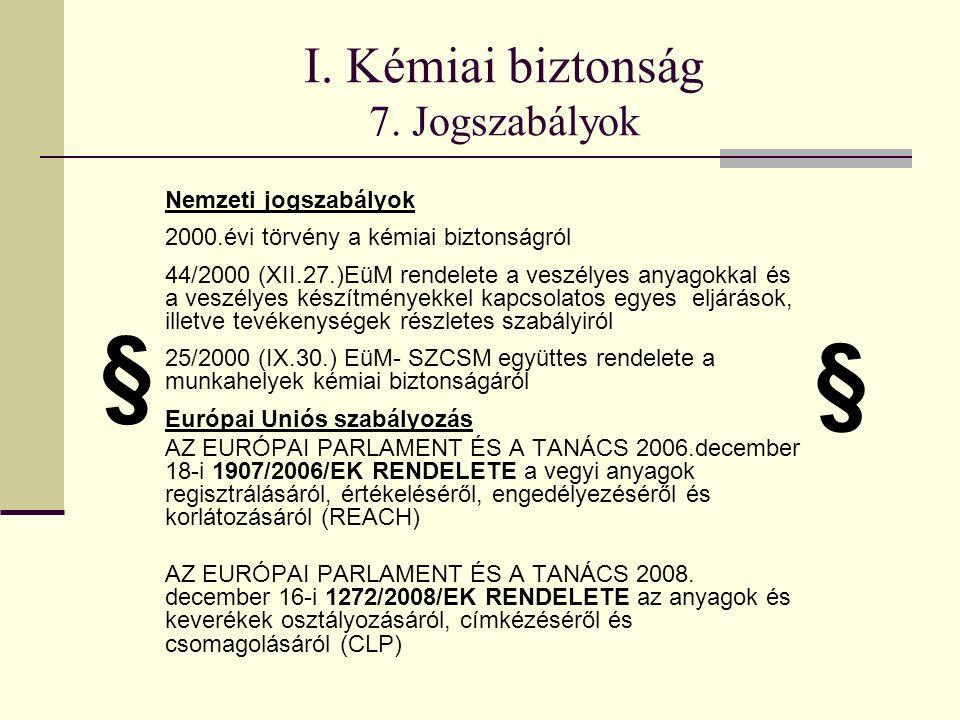 I. Kémiai biztonság 7.