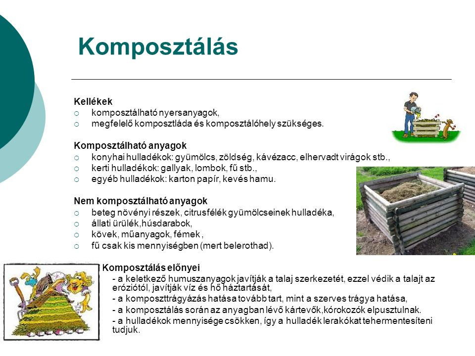 Komposztálás Kellékek  komposztálható nyersanyagok,  megfelelő komposztláda és komposztálóhely szükséges.