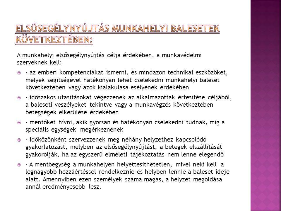 A munkahelyi elsősegélynyújtás célja érdekében, a munkavédelmi szerveknek kell:  - az emberi kompetenciákat ismerni, és mindazon technikai eszközöket