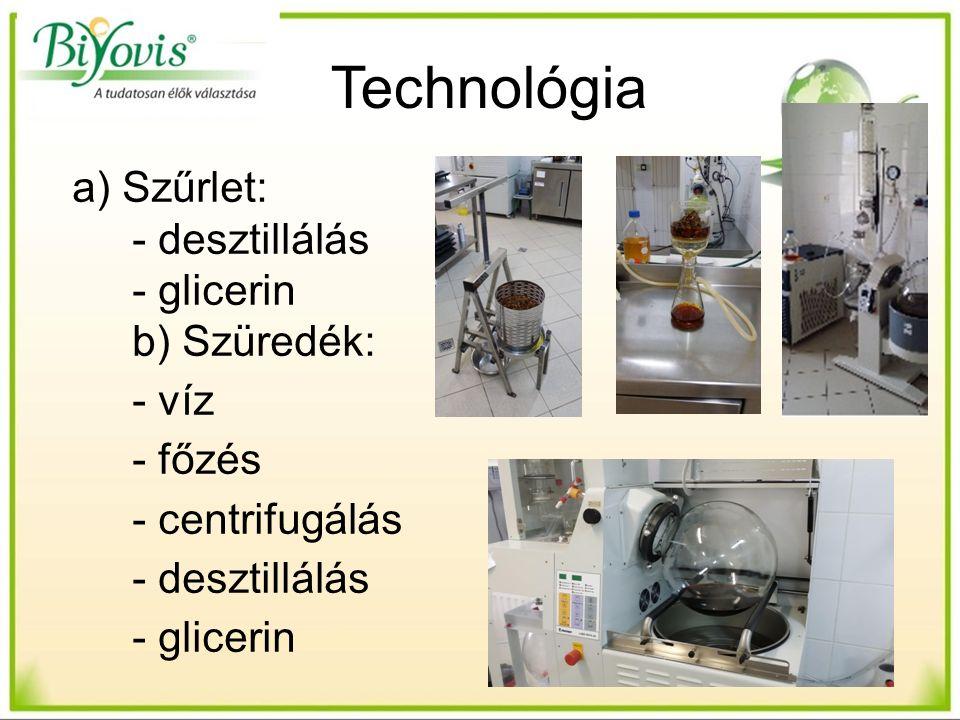 Technológia a) Szűrlet: - desztillálás - glicerin b) Szüredék: - víz - főzés - centrifugálás - desztillálás - glicerin