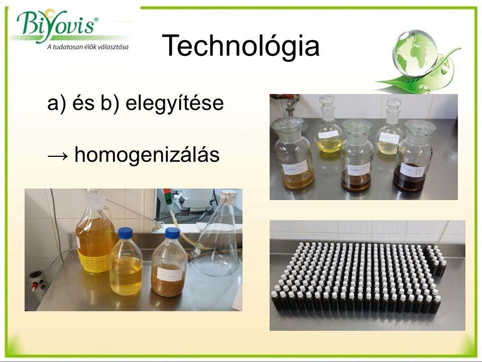 Technológia a) és b) elegyítése → homogenizálás